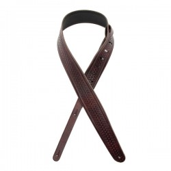 "D'Addario L25W1404 2.5"" Leather Guitar Strap, Embossed Weave - Brown"