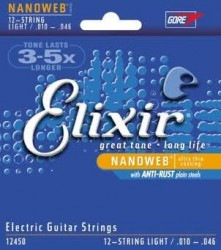 Elixir 12450 Nanoweb Coated Nickel Plated Steel, 12-String 10-46