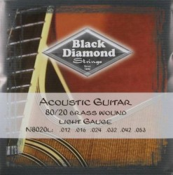 Black Diamond 80/20 Bronze, Brass Wound Acoustic Guitar, 12-53