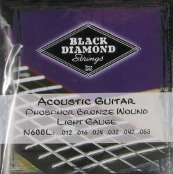 Black Diamond N600L Light Phosphor Bronze Acoustic Guitar, 12-53