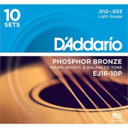 D'Addario EJ16-10P Phosphor Bronze Light Acoustic, 12-53, 10 Sets