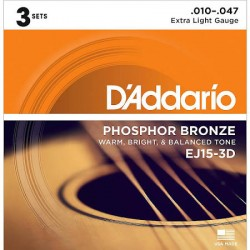 D'Addario EJ15-3D Phosphor Bronze, Extra Light, 10-47, 3 Sets