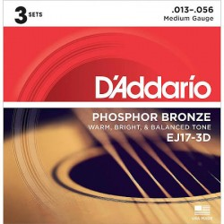D'Addario EJ17-3D Phosphor Bronze, Medium, 13-56