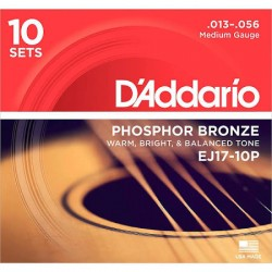 D'Addario EJ17-10P Phosphor Bronze, Medium, 13-56
