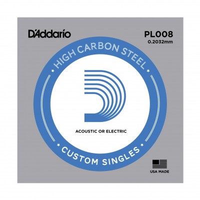 D'Addario Single Plain Steel 008