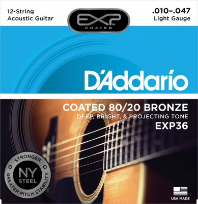 D'Addario EXP36 Coated 80/20 Bronze, 12-String, Light, 10-47